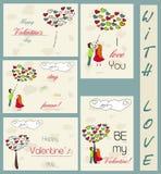 Grupo de cartões do vintage sobre o amor. Ilustração Royalty Free
