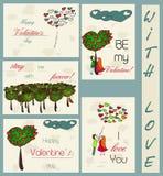 Grupo de cartões do vintage sobre o amor. Ilustração Stock