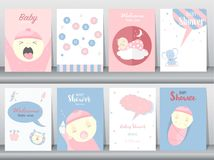 Grupo de cartões dos convites da festa do bebê, cartaz, cumprimento, molde, animais, bonitos, ilustrações do vetor Fotos de Stock