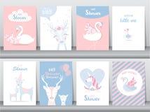Grupo de cartões dos convites da festa do bebê, cartaz, cumprimento, molde, cegonha, ganso, pato, ilustrações do vetor Imagens de Stock Royalty Free