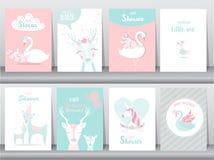 Grupo de cartões dos convites da festa do bebê, cartaz, cumprimento, molde, cegonha, ganso, pato, ilustrações do vetor Imagem de Stock