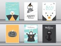 Grupo de cartões dos convites de Dia das Bruxas, cartaz, cumprimento, molde, animais, ilustrações do vetor Fotografia de Stock Royalty Free