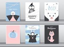 Grupo de cartões dos convites de Dia das Bruxas, cartaz, cumprimento, molde, animais, ilustrações do vetor Fotos de Stock Royalty Free
