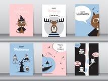 Grupo de cartões dos convites de Dia das Bruxas, cartaz, cumprimento, molde, animais, ilustrações do vetor Foto de Stock