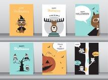 Grupo de cartões dos convites de Dia das Bruxas, cartaz, cumprimento, molde, animais, ilustrações do vetor Imagem de Stock