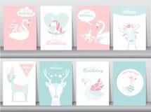 Grupo de cartões dos convites do aniversário, cartaz, cumprimento, molde, animais, unicórnio, cegonha, pato, ganso, ilustrações d Fotografia de Stock Royalty Free