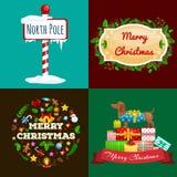 Grupo de cartões e de Feliz Natal das bandeiras e um ano novo feliz com decorações e presentes do Natal E ilustração stock