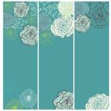 Grupo de cartões florais do vintage na turquesa ilustração royalty free