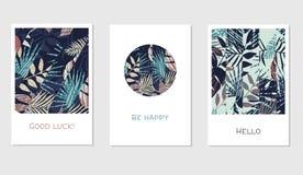 Grupo de cartões florais universais criativos no estilo tropical Imagens de Stock Royalty Free