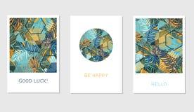Grupo de cartões florais universais criativos no estilo tropical Foto de Stock Royalty Free