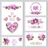Grupo de cartões floral Fotografia de Stock