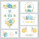Grupo de cartões floral Fotos de Stock