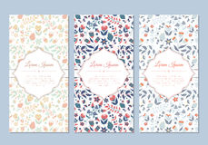 Grupo de cartões floral da garatuja bonito do vintage Imagens de Stock