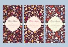 Grupo de cartões floral da garatuja bonito do vintage Fotografia de Stock Royalty Free