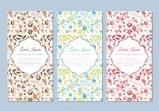 Grupo de cartões floral da garatuja bonito do vintage Fotografia de Stock