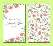 Grupo de cartões floral do vintage bonito Imagens de Stock
