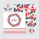 Grupo de cartões floral pintado óleo ilustração royalty free
