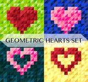 Grupo de cartões geométrico do vetor do coração Imagens de Stock Royalty Free