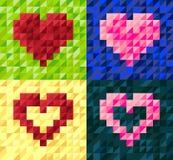 Grupo de cartões geométrico do vetor do coração Imagem de Stock