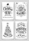 Grupo de cartões indicado por letras da mão do Natal ilustração stock