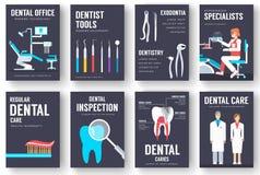 Grupo de cartões interior da informação do escritório dental Molde de flyear, compartimentos da higiene, cartazes, capa do livro, ilustração royalty free