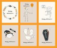 Grupo de cartões de Kawaii Dia das Bruxas ilustração do vetor
