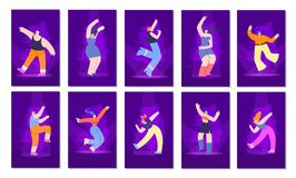 Grupo de cartões liso do convite do estilo de néon dos povos do disco ilustração stock
