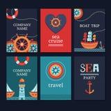 Grupo de cartões marinhos Foto de Stock Royalty Free