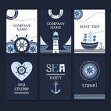 Grupo de cartões marinhos Imagem de Stock