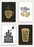 Grupo de cartões modernos com elementos e rotulação do café Moldes na moda do moderno para insetos, convites, projeto do menu Imagens de Stock