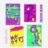 Grupo de 4 cartões na moda do projeto do cartaz Mão desenhada Fotografia de Stock