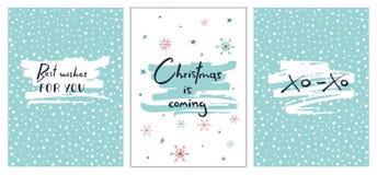 Grupo de cartões de Natal criativos com rotulação tirada mão O Natal está vindo Cumprimentos para você Xo-xo Fotos de Stock Royalty Free