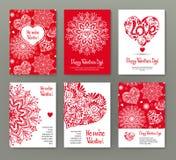 Grupo de 6 cartões ou bandeiras para o dia do ` s do Valentim com o lo vermelho ornamentado ilustração stock