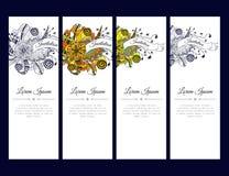 Grupo de cartões ou de bandeiras com o ornamento floral colorido do zentangle com fita Foto de Stock