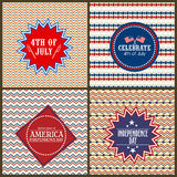 Grupo de cartões para o Dia da Independência americano Fotos de Stock