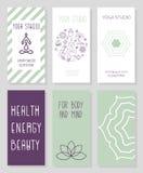 Grupo de cartões para o estúdio da ioga, loja, centro dos termas Imagem de Stock