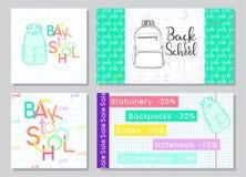 Grupo de cartões para uma venda da escola Fontes de escola tiradas mão Ilustração do vetor no estilo do esboço Imagem de Stock