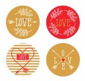 Grupo de cartões redondos para seu projeto Amor Fotos de Stock Royalty Free