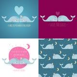 Grupo de 4 cartões românticos com baleias Fotos de Stock Royalty Free