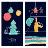 Grupo de cartões tirados do vetor mão universal para o Natal ilustração do vetor