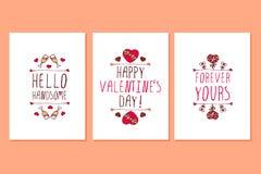 Grupo de cartões tirados mão do dia de Valentim de Saint Foto de Stock