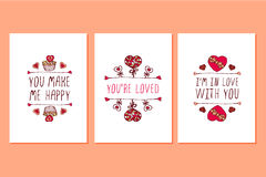 Grupo de cartões tirados mão do dia de Valentim de Saint Fotos de Stock