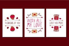 Grupo de cartões tirados mão do dia de Valentim de Saint Foto de Stock Royalty Free