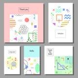 Grupo de cartões universais coloridos artísticos Estilo de Memphis Imagem de Stock