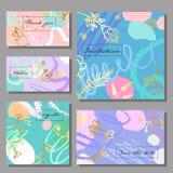 Grupo de cartões universais coloridos artísticos Estilo de Memphis Imagens de Stock