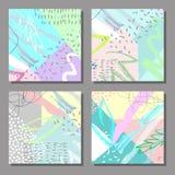 Grupo de cartões universais coloridos artísticos Estilo de Memphis Imagens de Stock Royalty Free