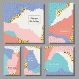 Grupo de cartões universais coloridos artísticos Texturas da escova Fotos de Stock Royalty Free