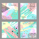 Grupo de cartões universais coloridos artísticos Texturas da escova Foto de Stock Royalty Free