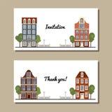 Grupo de cartões universais com construções europeias velhas do estilo Casas de Amsterdão Foto de Stock Royalty Free