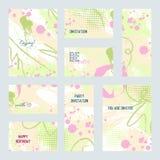 Grupo de cartões universais criativos Casamento, aniversário Imagem de Stock Royalty Free